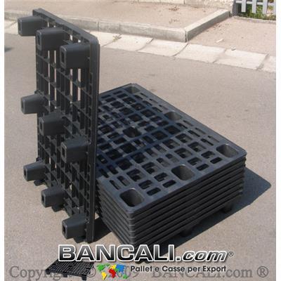 Europallet in plastica 800x1200 mm leggero economico 9 piedi SENZA Bordi Peso Tara Kg. 5