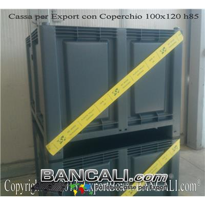 ExportBox® Contenitore in plastica 1000x1200 x h.830 mm per Export;  Cassa con misure interne: 920x1120x h.655 mm comprensiva di Coperchio, con 4 piedi e inforcabile su tutti i 4 Lati. Sovrapponibile e Accatastabile. Peso Tara con Coperchio Kg. 39