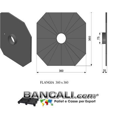 Flangia in Plastica 360x360 mm. con cono da 76mm o 3 Pollici PortaBobine o Rotoli in Sospensione a 2 Flange a perdere Peso Tara 0,243 Kg.