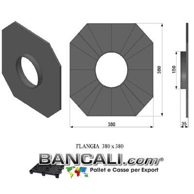 Flangia in Plastica 380x380 mm. con cono da 152 mm o 6 Pollici PortaBobine o Rotoli in Sospensione a 2 Flange a Perdere Peso Tara 0,270 Kg.