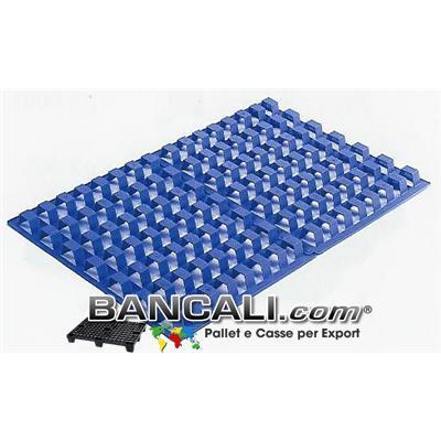 Grigliato di Plastica 800x1200 mm. Separatore Interfalda in HDPE per Areazione; con altezza 50 mm. di colore Blu;  per temperatura da - 50° a + 90° Inseribile;  Kg. 3,2