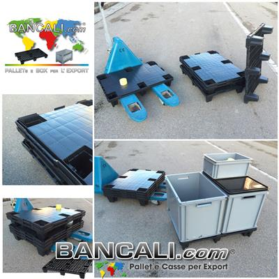 Mezzo Pallet 600x800 mm. in Plastica inseribile a piano chiuso con Scanalature idoneo PALLET BOX, con Bordi, Rotabile di 180° Peso Tara Kg. 3,3