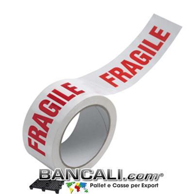 Nastro Adesivo Fragile per Imballo; Metri Lineari 132, Altezza 50 mm.