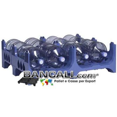 PALLET Accatastabile in Plastica Porta Boccioni. Con 2 Vani, per 4+4 = 8 Boccioni a Piano / a Pallet. dimensione: 1000x1200  (h. 380/423 mm.)  Plastica: PoliPropilene Carbonato. Kg. 17