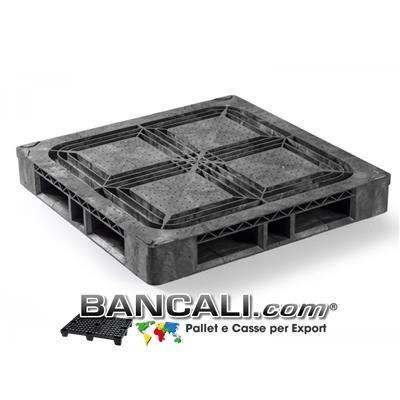 PALLET Quadrato in Plastica 1140x1140  h.160 mm Perimetrale Grosse Portate su Scaffale Rack, CP9  a piano Semi Chiuso in HDPE Peso Tara 26 Kg