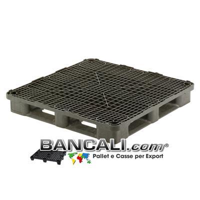 PALLET Quadrato in Plastica 1200x1200  h.170 mm Perimetrale per Grosse Portate su Scaffale Rack, Grigliato. Disponibile sia a 6 Slitte che a 3 Binari  Peso 28 Kg.