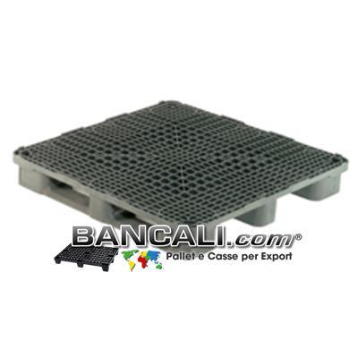 PALLET Quadrato in Plastica 1200x1200  h.170 mm Sovrapponibile per Grosse Portate anche su Scaffale Rack, Grigliato. Con 3 Binari  Peso 26 Kg.