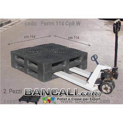 PALLET Quadrato in Plastica  1140x1140  h. 170 mm Perimetrale per Grosse Portate su Scaffale Rack, CP9  Grigliato. Disponibile sia a 6 Slitte che a 3 Binari  Peso Tara 25 Kg