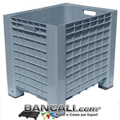Pallet-Box 600x800 h.740 mm. Cassa in plastica Contenitore con Maniglie per l'agricoltura o industria. 4 piedi Colore Grigio. Peso Tara 12,5 Kg.