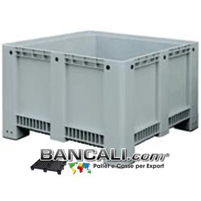 Pallet Box di Plastica 113x113 h.76; Cassone Quadrato con Pareti Chiuse Fondo Chiuso 4 Piedi;  Realizzato con plastiche Nobili di prima Fusione. Peso Tara 37 Kg.