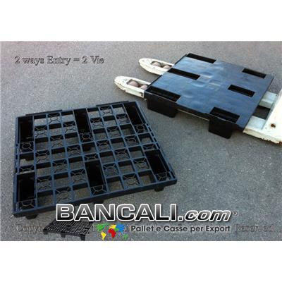 Pallet Quadrato 720x760 mm. in Plastica Grigliato 6 Piedi idoneo per Export Ideale per lo stivaggio a 3 Corridoi nel Container Peso Tara Kg 3