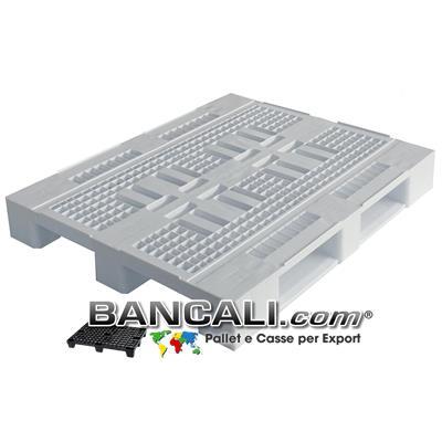 Pallet igienico 800x1200 h.155 mm.  Atossico per alimenti stampato con Plastiche HDPE Vergini. Pianale Grigliato, Dotato di 3 Slitte Peso Tara 13 Kg.