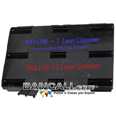 Pallet per Container 800x1140 mm. in Plastica a Piano Chiuso, inseribile, idoneo all'Export. Ideale per disporre 2 Corridoi nel Container. Peso Tara Kg. 5,8