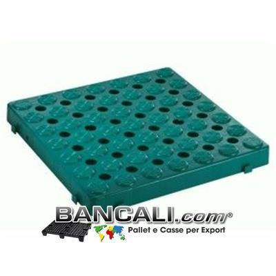 Pedana Forata incastrabile 500x500 h.50mm Passerella Pedonabile Pavimentazione in plastica, componibile su 4 lati stampata in Colore Verde Bottiglia PesoTara: