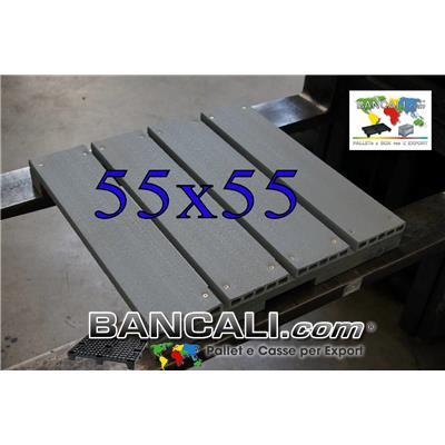 Pedana miniPallet Plastica  550x550 mm.  h.70 mm. assemblato Piano Ruvido Pianale a 4 Listelli da 125 mm - Pedana a 2 vie - Per inforcamento con Carrello Manuale da Corrieri. - Tara Peso Kg. 5,7