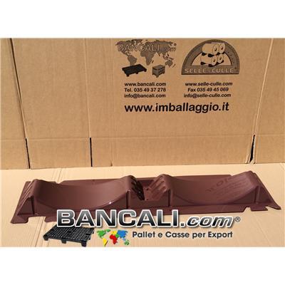 Porta Bobine in Plastica PET con 2 Culle per 2 Bobine da Diametro 450 a Ø 550 mm. Selle per Rotoli Sovrapponibili L.1070 mm Larg. 230 mm Peso Tara: Gr. 400