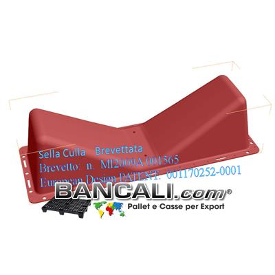 Sella Culla MOBILE in Plastica a forma di V, come supporto di Corpi Cilindrici o come sostegno di Bobine, Rotoli in Carta, Pellicole, Avvolgibili, Accoppiati, di Plastica o Cartone.