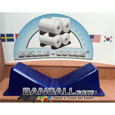 Sella Culla MOBILE in Plastica di Nylon Colore Giallo a V per Bobine di Diametro da 250 mm. a MAX Ø 1200 mm. Forte e Resistente Peso Tara Kg. 1,9