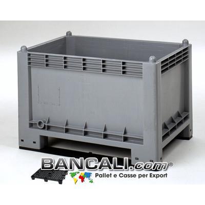 CargoPallet 70x100 h65 cm. 300 Litri Contenitore in plastica atossica per alimenti con 2 Slitte o traverse, Box idoneo a Scaffale o Rack. Peso Tara 19 Kg.