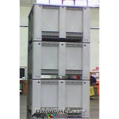 Export Box 1130 x1130 h760 mm in Plastica Quadrato per Container stampato in plastica Vergine, Atossica per  Alimenti  Peso Tara Kg 38. + Coperchio