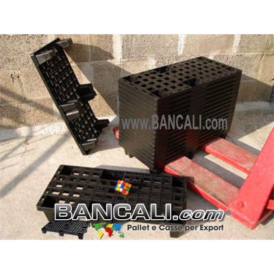 microPALLET® in Plastica 370x770 mm Inseribile Asimmetrico Piedi 6 Bancalino 1/3 di EuroPALLET, Bancale idoneo come EXPORT-PALLET Tara Peso 1,4 Kg.