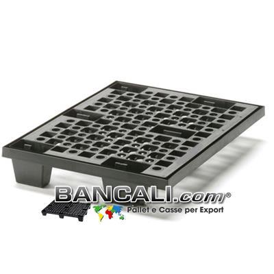 miniPALLET Asimmetrico 600x800 mm. in Plastica Robusto inseribile a 6 piedi Grigliato con Maglia a cerchi inforcabile 4 Vie Tara Peso 4,8 Kg.